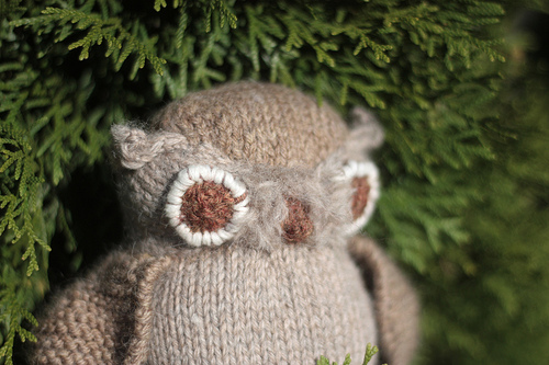 knit horned owl toy