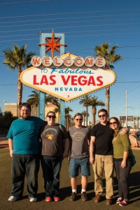 At the Vegas sign with friends!